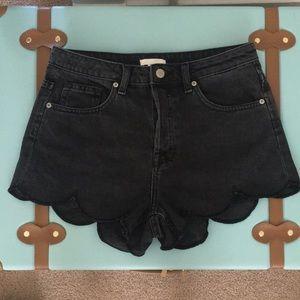 H&M Scalloped Jean Shorts